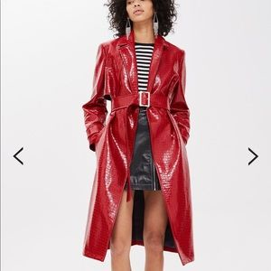 Topshop Croc Embossed Coat